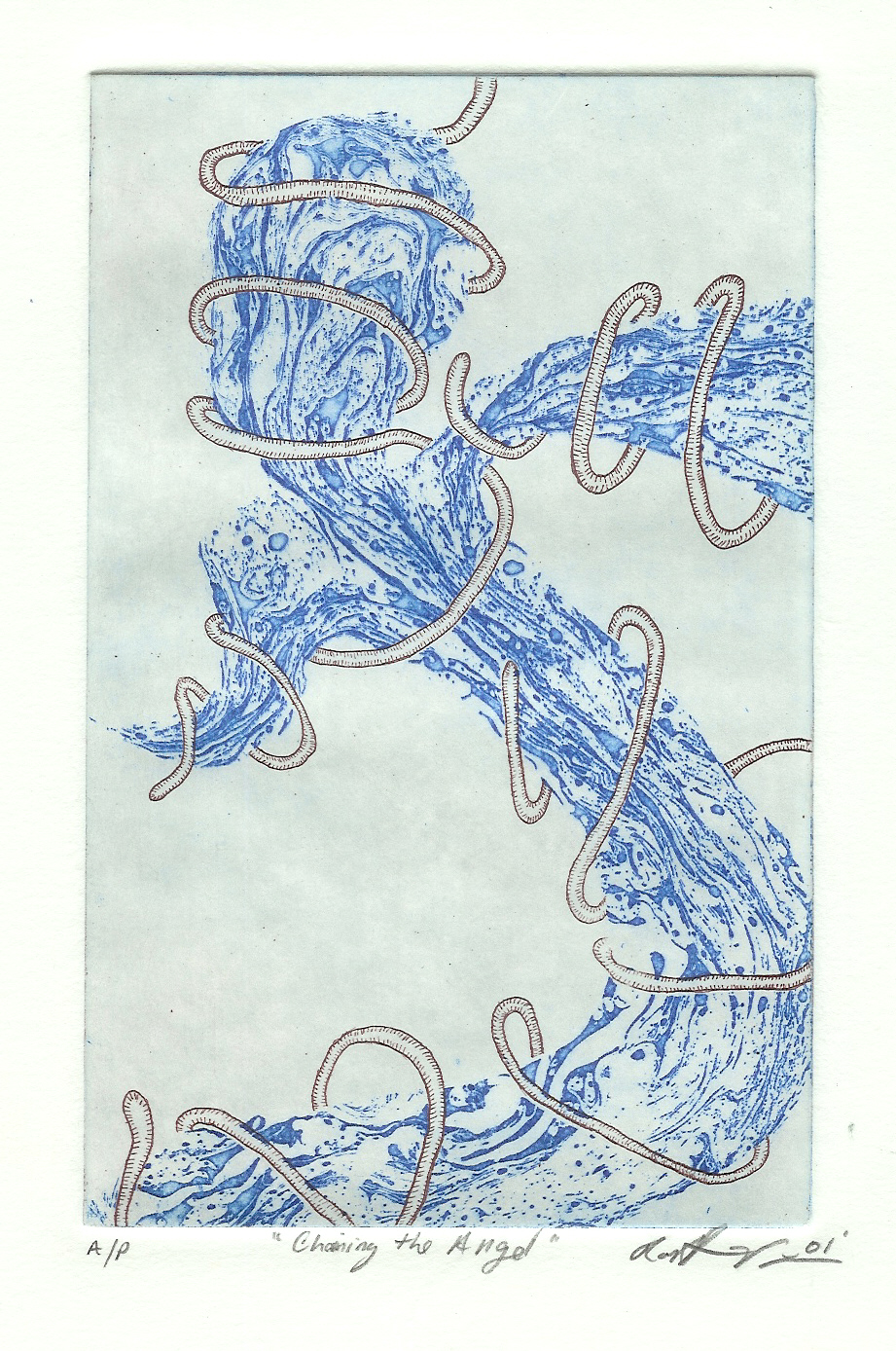 """Zinc Etching 5 """" x 7"""" Rives BFKpaper Printed in Mars Violet & Perm. Blue This a multi-plate etching with perfect registration."""
