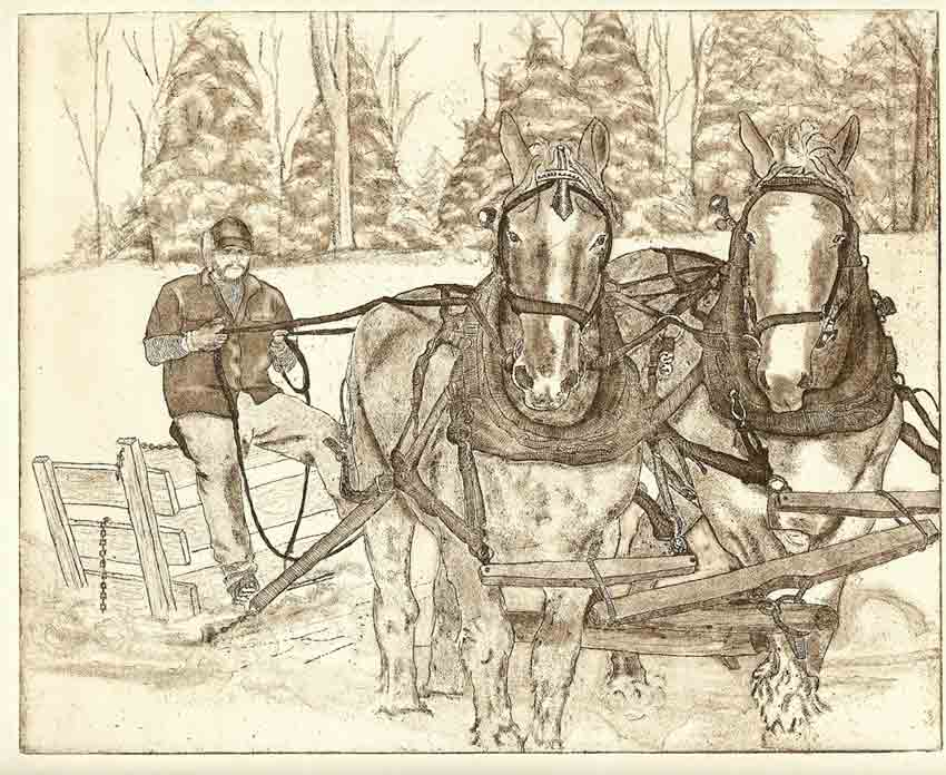 """Zinc Etching 8"""" x 10"""" Rives Light Weight Paper Printed in Sepia I am from New England. So, this winter I thought it would be fitting to create an image that was inspired by my former residence. In this etching, the gentleman is traveling out to retrieve the maple syrup buckets."""