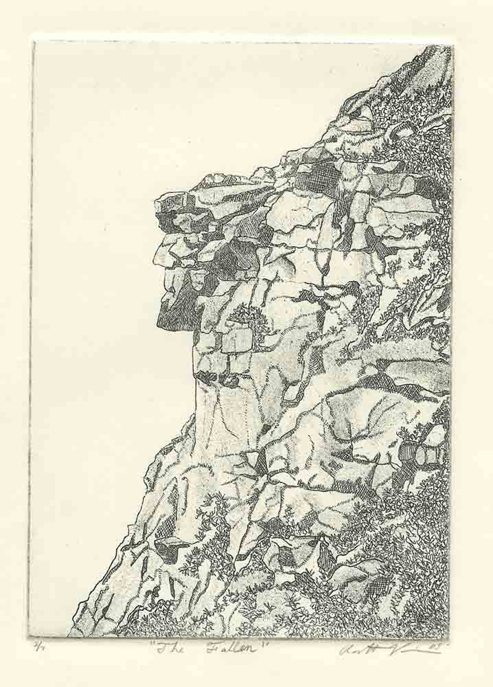 "Zinc Etching 5 "" x 7"" Graphic heavyweight paper Printed in Carbon Black ""The Old Man of the Mountain"" was a distinctive rock formation on Mt. Cannon in the Franconia Notch gateway to northern New Hampshire. From the right view, this unique rock formation -- comprised of five layers of Conway red granite -- depicted the distinct profile of an elderly man gazing eastward. Geographers believe that the layers of granite were formed by the melting and slipping away action of an ice sheet that covered the Franconia Mountains at the end of the glacial period 2,000 to 10,000 years ago. Until it crumbled in early 2003, the formation measured over 40 feet high with a lateral distance of 25 feet. "" It is featured on the New Hampshire Quarter"