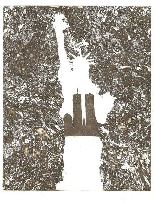 "Zinc Etching 10"" x 8"" Rives Natural Cream Paper Printed in Sepia This is featured in the book: ""Remembering 9/11 Through the Eyes of a Printmaker"""
