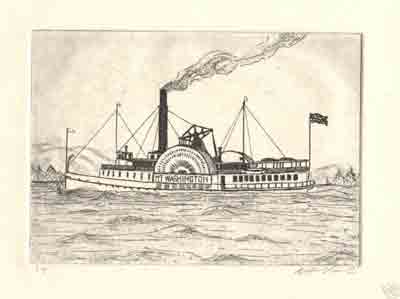 """Zinc Etching 5 """" x 7"""" Printed on Rives Lightweight My fiances Grandfather owned the Mt. Washington ship on Lake Winnipisaukee in New Hampshire. This image was the first Mount and was the inspiration behind this creation"""