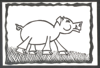 "2007 Year of the Boar 5"" x 7"" Linocut"
