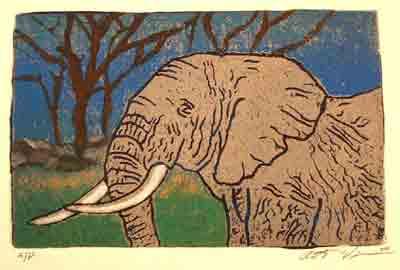 """Title: """"Elephant (color)"""" Medium: Linocut Paper Size: 10"""" X 12"""" Image Size: 8"""" X `10"""""""