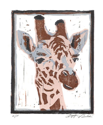 "Title: ""Giraffe"" Medium: Linocut Paper Size: 7"" X 6"" Image Size: 5"" X 4"""