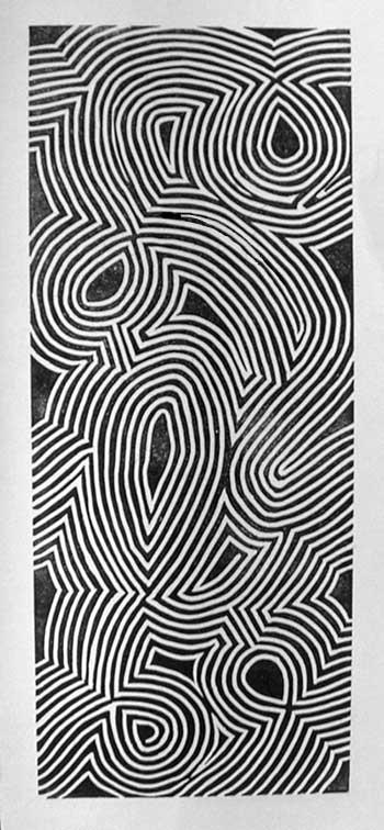 """Lines"" 12"" x 5"" Linocut"