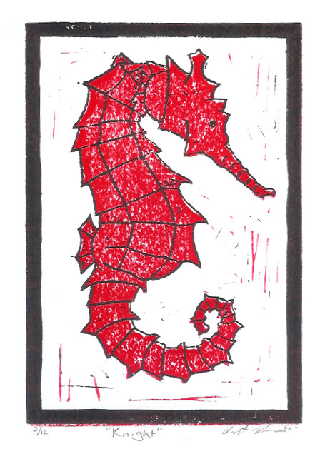 """Knight I"" - Seahorse Linoluel Cut 5 "" x 7"" Strathmore 500 series Bristol Paper Printed in Speedball Waterbased Inks 2 color 2 block"