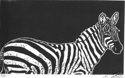 """Vintage Television"" Zebra Linoluel Cut 6 "" x 10"" Strathmore 500 series Bristol Paper Printed in Speedball Waterbased Inks A play on words here."