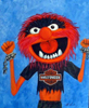 Robert Viana - Printmaker - Acrylic on Canvas thumbnail - Animal Muppet with harley Davidson T-shirt