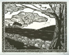 Robert Viana - Printmaker - Linocut Print thumbnail - Dusk on the Farm
