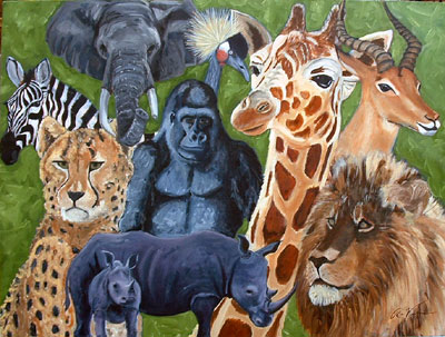Robert Viana - Printmaker - Oil on Canvas - Africa Medley